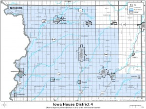 Iowa House District comprises much of Sioux County in northwestern Iowa.