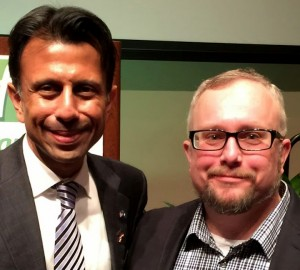 Louisiana Gov. Bobby Jindal, left, spoke last night to a group of pastors while in Iowa City as part of the American Renewal Project. Fort Des Moines Church of Christ pastor Michael Demastus, right, was in attendance and spoke about his experience. (submitted photo)