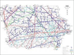 This map shows the locations of all the liquid and natural gas pipelines that crisscross Iowa. Click to see it in full size.