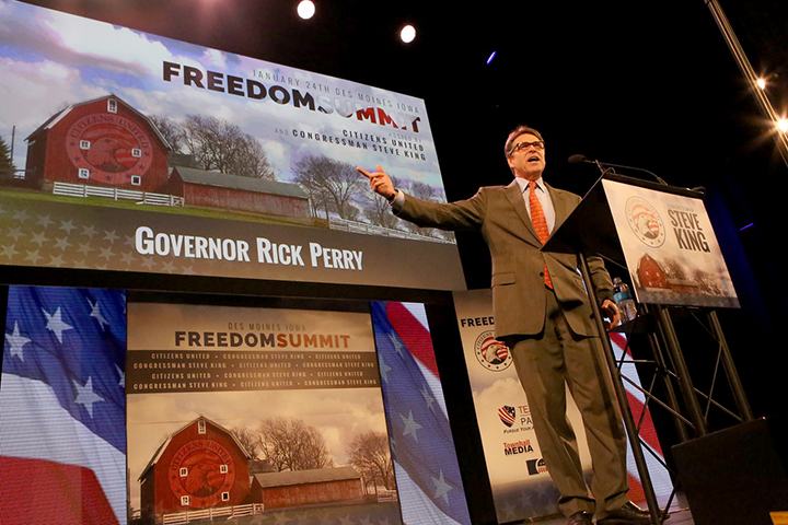 Former Texas Gov. Rick Perry spoke during the Iowa Freedom Summit held in Des Moines in January. (Prezography photo/used with permission)