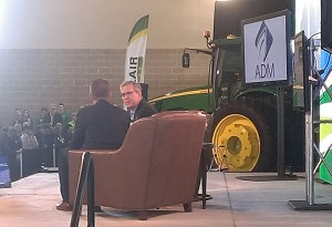 Former Florida Gov. Jeb Bush speaks with ag businessman Bruce Rastetter during the 2015 Iowa Ag Summit. (Joel Kurtinitis/The Iowa Statesman)