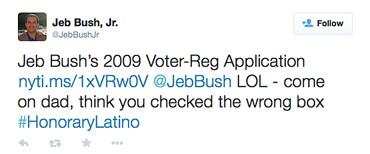Jeb Bush Jr Voter Reg Tweet
