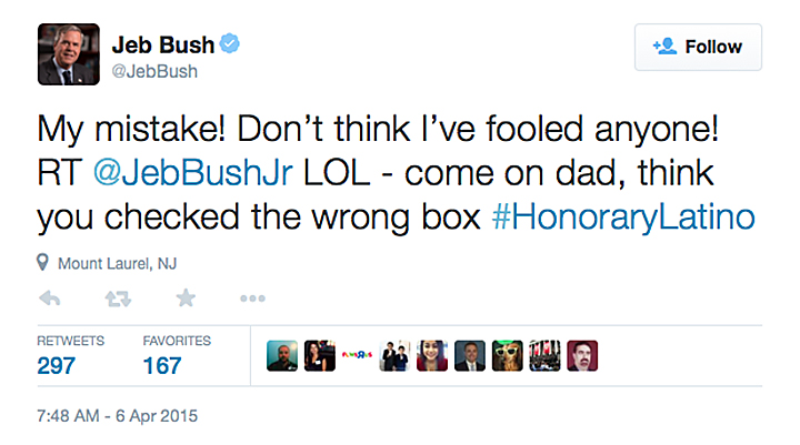 Jeb Bush Voter Reg Tweet