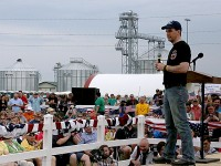 """Wisconsin Gov. Scott Walker spoke to the big crowd at U.S. Sen. Joni Ernst's """"Roast and Ride"""" event Saturday at the Central Iowa Expo east of Boone. The event was marred by two separate bomb threats, which are now being investigated by the Iowa State Patrol. (Prezography Photo)"""