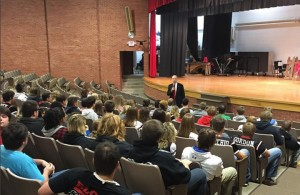 U.S. Sen. Chuck Grassley held a question and answer session with the senior class at Greene County High School in Jefferson on Friday, Oct. 16. This meeting marked the completion of Grassley's annual 99 county meetings for 2015.  (Submitted photo)