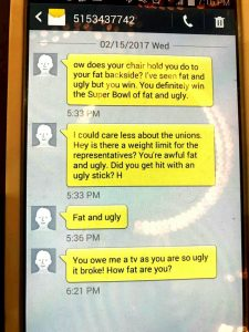Text Messages sent to Dawn Pettengill