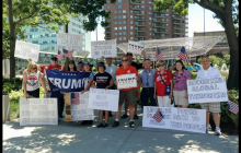 Pro-Trump Group Protests Des Moines Register