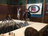State Central Committee member and state Treasurer candidate John Thompson speaks to Polk County Republican Women